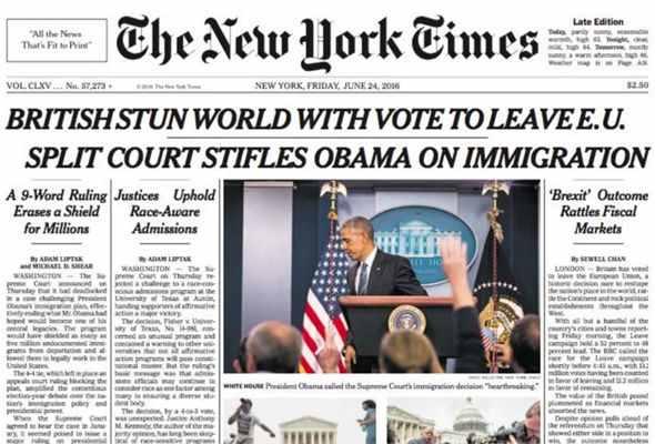 New York Times - Brexit Headline - EU Referendum - British stun world with vote to leave EU