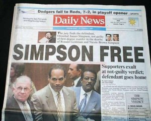OJ Simpson verdict acquittal - Daily News headline