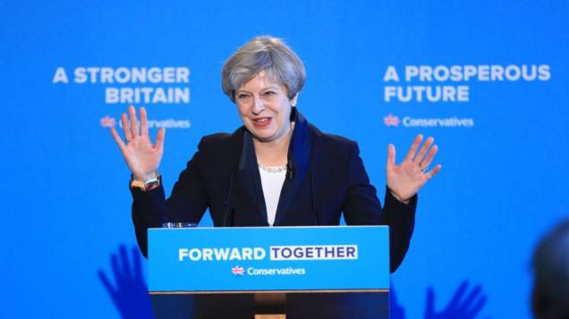 Theresa May - Conservative Party Tories General Election 2017 Manifesto Launch - Halifax