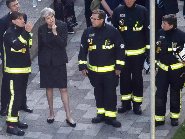 Theresa May - Grenfell Tower fire - London Fire Brigade