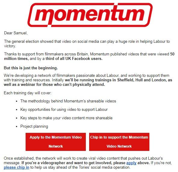 Momentum - socialist - online campaigning - videos social media