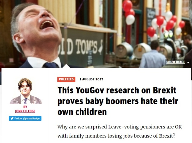 New Statesman hysteria - Brexit means baby boomers hate their own children