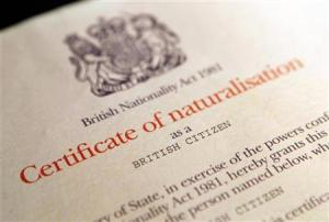 A British citizenship certificate is seen in London