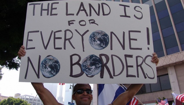 The Land Is For Everyone - No Borders protest