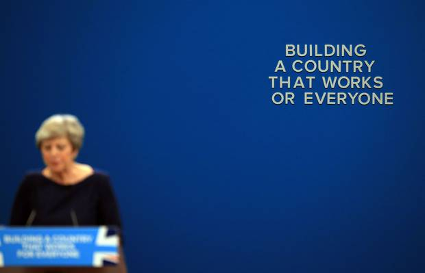 Theresa May conservative party conference speech - building a country that works for everyone - set malfunction - 2