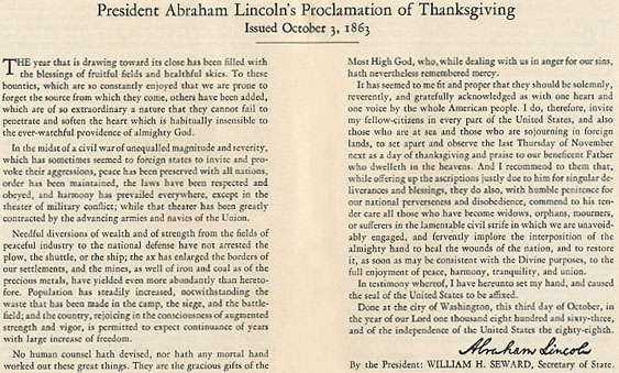 Thanksgiving Proclamation - President Abraham Lincoln - 1863