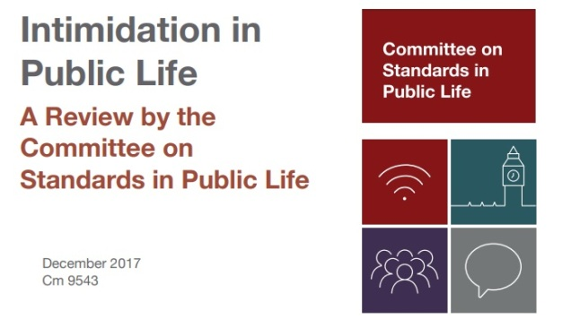 Intimidation in Public Life report - Committee on Standards in Public life - Parliament - Britain - UK - online social media abuse
