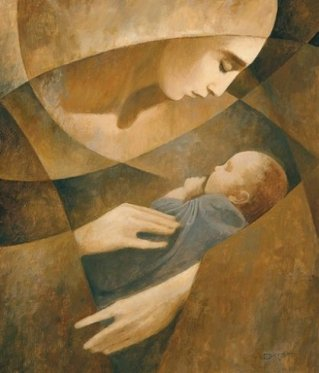 Nativity - Christmas - Mary and Baby Jesus - J Kirk Richards