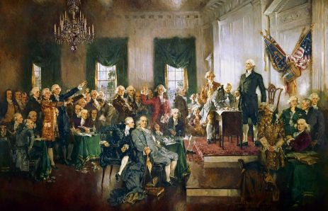 Scene at the signing of the Constitution of the United States - Howard Chandler Christy - Hamilton musical - Brexit