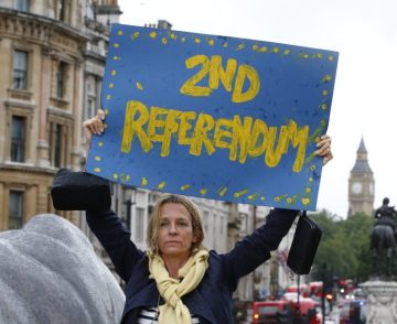 Anti Brexit Pro EU protester holding Second Referendum banner