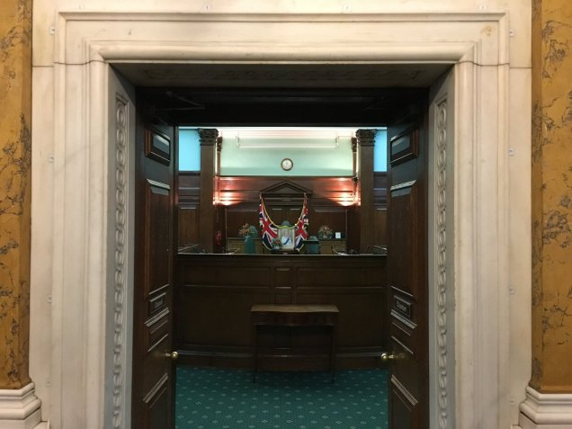 Camden Town Hall council chamber doorway - Citizenship ceremony - British UK flags and Queen Elizabeth portrait