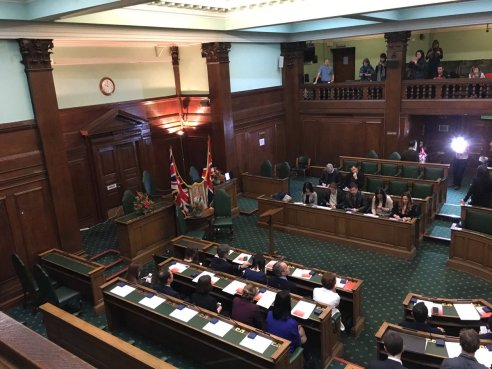 Camden Town Hall council chamber - view from public gallery - Citizenship ceremony