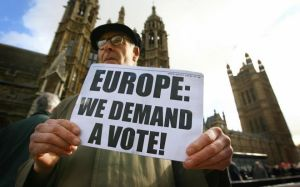 Protester placard at parliament - Europe We Demand A Vote - Second EU referendum - Remainers