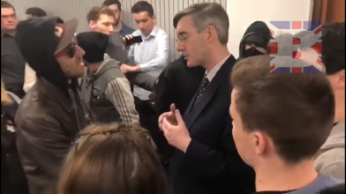 Jacob Rees-Mogg - University of West England - Momentum leftist protesters