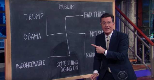 Stephen Colbert - Donald Trump - chalkboard swastika