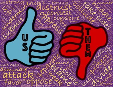 Us vs them - thumbs up thumbs down - politics