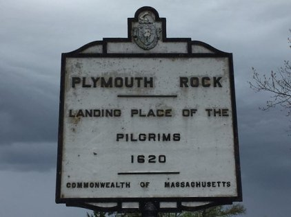 Sign at Plymouh Rock - landing place of the pilgrims - 1620