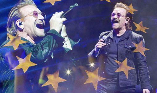 Bono - U2 concert - EU flags - Brexit