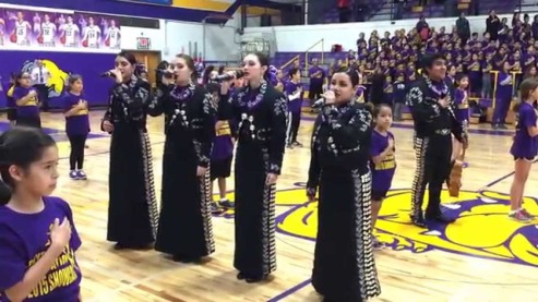 McHi McAllen High School game - national anthem - Mariachi Oro