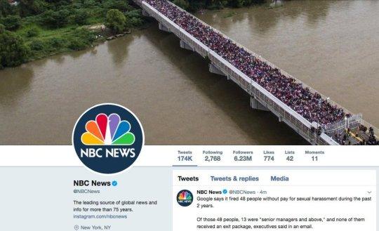NBC news Twitter banner image - migrant caravan - journalistic bias