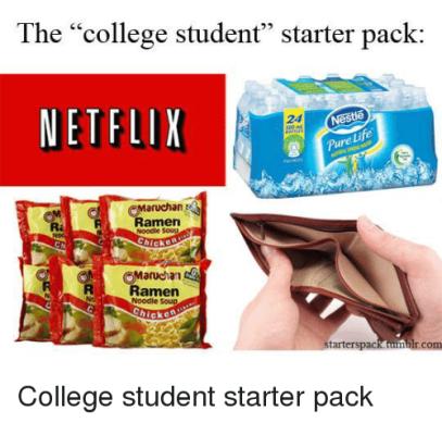 College student starter pack - instant ramen noodles