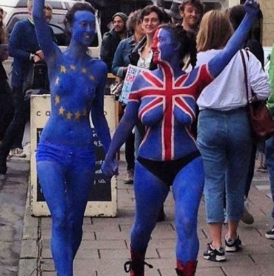 EU flag body paint
